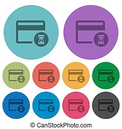 Credit card operation in progress color darker flat icons