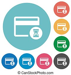 Credit card operation in progress flat round icons