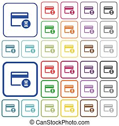 Credit card operation in progress outlined flat color icons