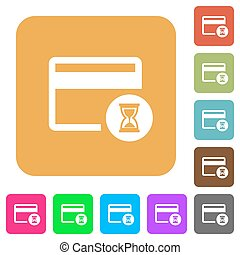 Credit card operation in progress rounded square flat icons