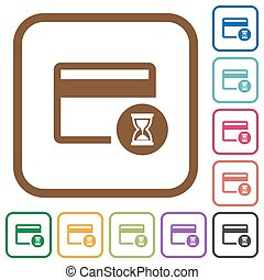 Credit card operation in progress simple icons