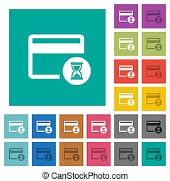 Credit card operation in progress square flat multi colored icons