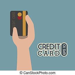 credit card over  blue background vector illustration