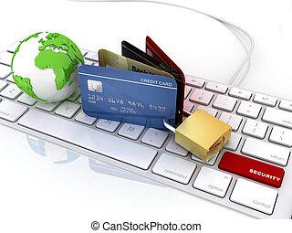 credit card over laptop keyboard