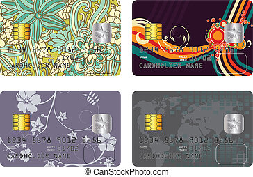 credit card pack - Abstract vector pack with four credit...