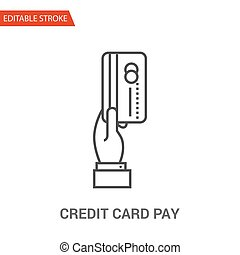 Credit Card Pay Icon. Thin Line Vector Illustration