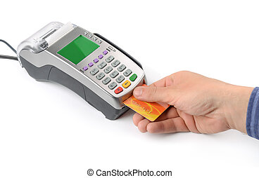 Hand with credit card and credit card reader