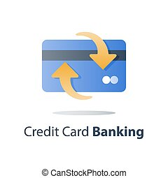 Credit card, payment method, bank services, cash back program, saving money, financial solution, bank card, deposit and withdraw, transaction security, vector icon