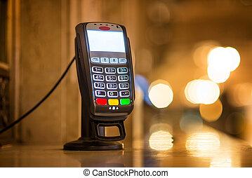 Credit Card payment Terminal at ticket office at Grand...