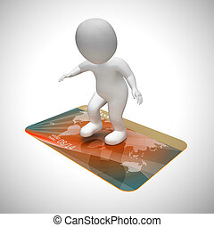Credit card payments icon shows retail finance - 3d illustration