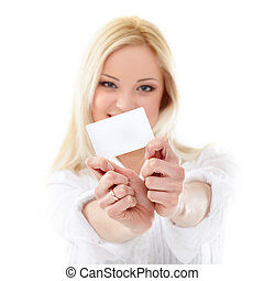 Credit card - Happy blond woman showing blank credit card....