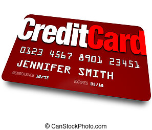 Credit Card Plastic Charge Shopping Debt - A red credit card...
