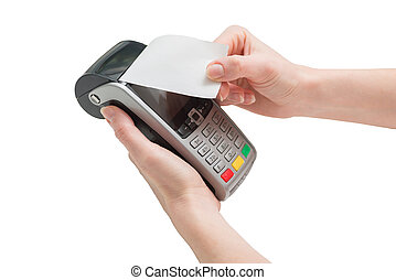 credit card pos terminal with receipt in woman hands isolated on a white background