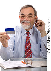credit card purchase - Businessman making a credit card...