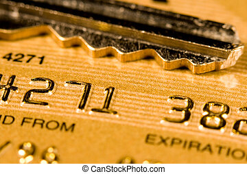 Credit Card Security - Close up of a credit or debit card...