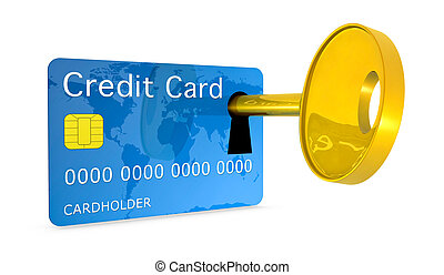 credit card security - one credit card with a keyhole and a...