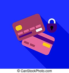 Credit Card Security icon in flat style isolated on white background. E-commerce symbol stock vector illustration.