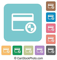 Credit card security rounded square flat icons