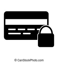 Credit Card Security with Lock Pixel Perfect Vector Silhouette Icon 48x48. Simple Minimal Pictogram