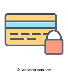 Credit Card Security with Lock Pixel Perfect Vector Thin Line Icon 48x48. Simple Minimal Pictogram