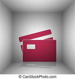 Credit Card sign. Bordo icon with shadow in the room.