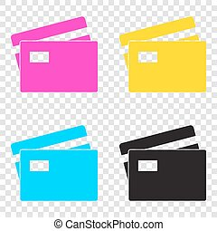 Credit Card sign. CMYK icons on transparent background. Cyan, ma