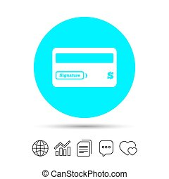 Credit card sign icon. Debit card symbol. Virtual money....