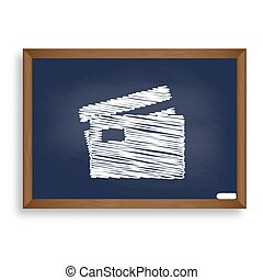 Credit Card sign. White chalk icon on blue school board with sha