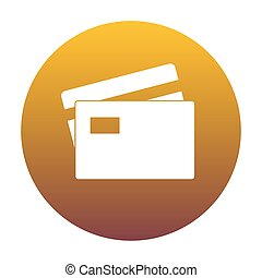Credit Card sign. White icon in circle with golden gradient as b