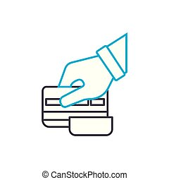 Credit card slipping vector thin line stroke icon. Credit...