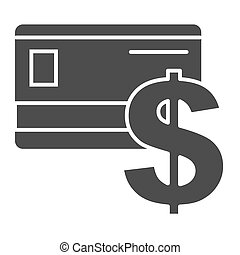 Credit card solid icon. Plastic card and dollar sign vector illustration isolated on white. Bank card glyph style design, designed for web and app. Eps 10.