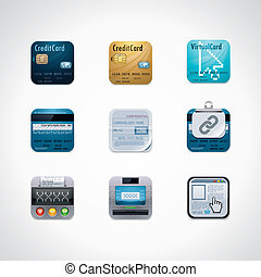 Credit card square icon set - Set of credit card features ...