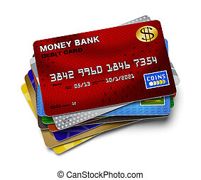 Credit Card Stack - Several Credit Cards in a Pile Isolated...