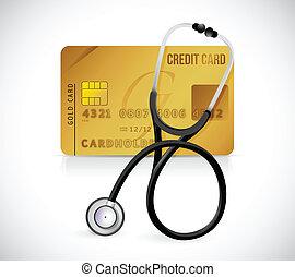 credit card stethoscope illustration design