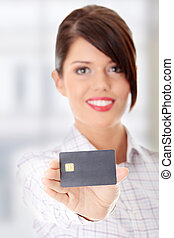 Credit card - Woman with a credit card on her hand