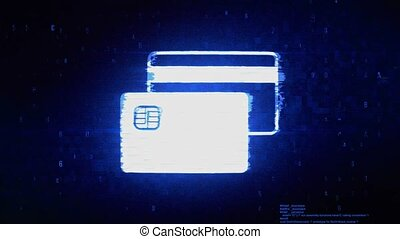 Credit Card Symbol Digital Pixel Noise Error Animation.