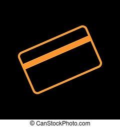 Credit card symbol for download. Orange icon on black background. Old phosphor monitor. CRT.