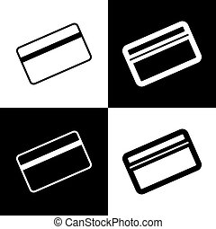 Credit card symbol for download. Vector. Black and white icons and line icon on chess board.