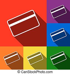 Credit card symbol for download. Vector. Set of icons with flat shadows at red, orange, yellow, green, blue and violet background.