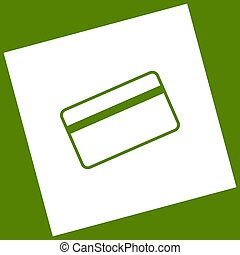 Credit card symbol for download. Vector. White icon obtained as a result of subtraction rotated square and path. Avocado background.