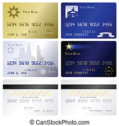 Credit card templates - Four credit card fronts and two...