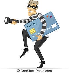 Credit Card Thief - Thief stealing big credit card vector...