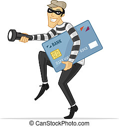 Credit Card Thief - Thief stealing big credit card vector...