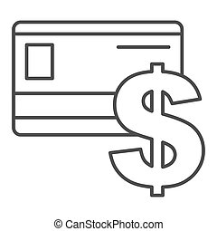 Credit card thin line icon. Plastic card and dollar sign vector illustration isolated on white. Bank card outline style design, designed for web and app. Eps 10.