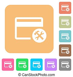 Credit card tools rounded square flat icons