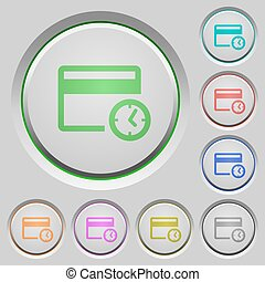 Credit card transaction history push buttons