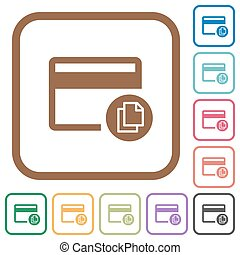 Credit card transaction templates simple icons