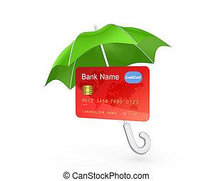 Credit card under green umbrella.