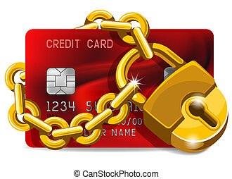 credit card under the protection - Credit card with golden...