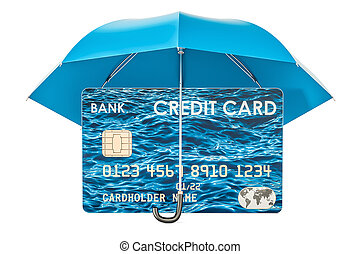 Credit card under umbrella, security payment concept. 3D rendering